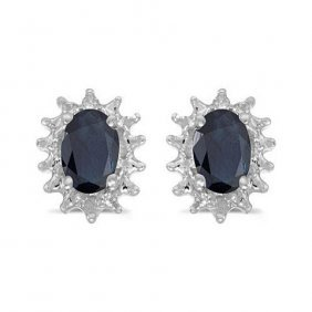 14k White Gold1.20 Ctw Sapphire/diamond Earrings