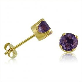 14k Yellow Gold.70 Ctw Amethyst Stud Earrings