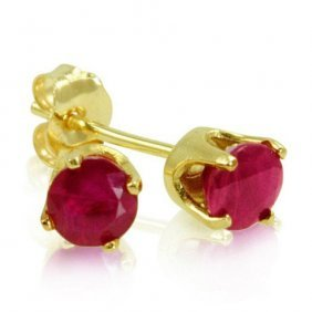 14 Karat Yellow Gold .60 Ctw Ruby Stud Earrings