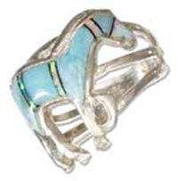 Sterling Silver Synthetic Blue Opal And Larimar Horse R