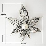 Arts & Crafts Style Pearl Beaded Pointed Flower Blossom