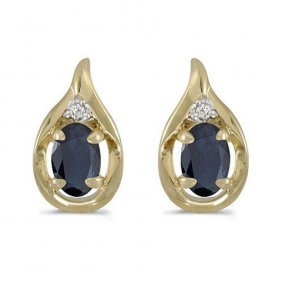 14k Yellow Gold 1.20 Ctw Sapphire/diamond Earrings