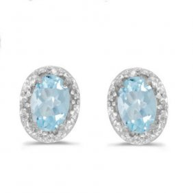 14k White Gold .80 Ctw Aquamarine/diamond Earrings