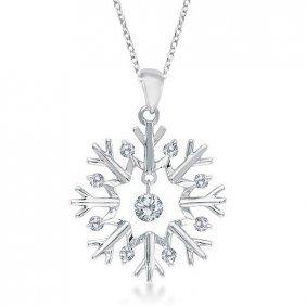 Snowflake Shaped Diamond Pendant Necklace 14k White Gol