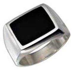 Sterling Silver Men's Rectangular Obsidian Ring