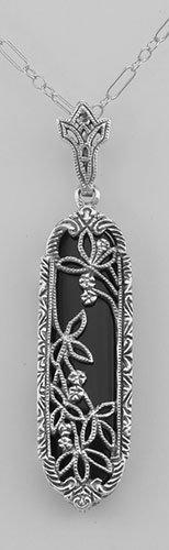 Art Deco Black Onyx Floral Filigree Pendant - Sterling