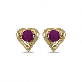 14k Yellow Gold .30 Ctw Ruby Heart Shaped Earrings