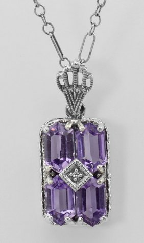 Art Deco Amethyst Filigree Diamond Pendant / 18 Inch Ch