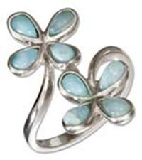 Sterling Silver Double Larimar Flowers Ring