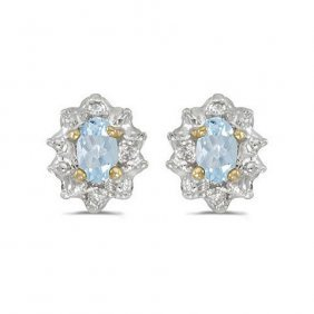 14k Yellow Gold .40 Ctw Aquamarine/diamond Earring
