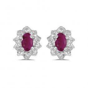 14k White Gold0.7 Ctw Ruby/diamond Earrings