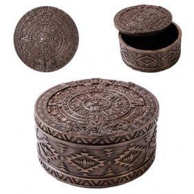 Aztec Round Box Bronze