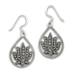 Beautiful Lotus Flower Earring With Marcasite
