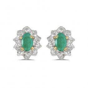 10k Yellow Gold .60 Ctw Emerald/diamond Earrings