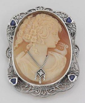 Victorian Style Hand Carved Italian Shell Cameo Diamond