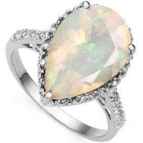 4.46 Ctw Created Fire Opal & Genuine Diamond Platinum P