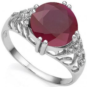 3.61 Ctw Genuine Ruby & Genuine Diamond Platinum Plated