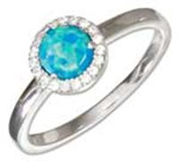 Sterling Silver Synthetic Blue Opal Ring With Micro Pav