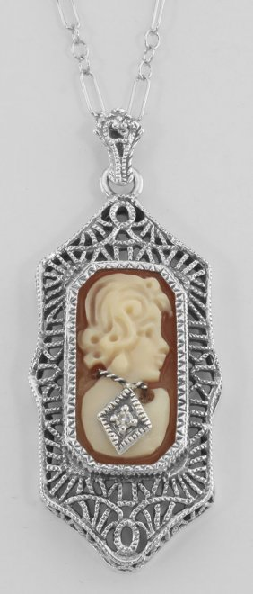 Hand Carved Italian Shell Cameo Filigree Diamond Neckla