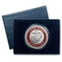 1 Oz Silver Round - U.s. Marines (enameled, W/box & Cap