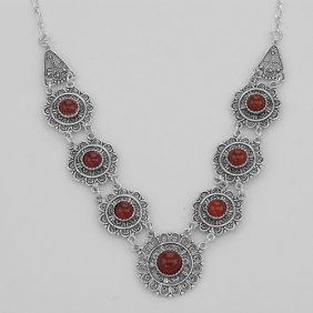 Antique Victorian Style Red Agate 18 Inch Necklace - St