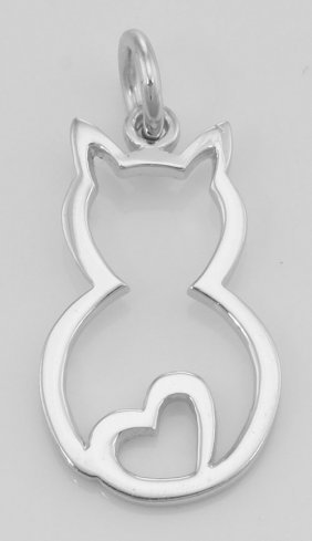 Cute Cat Charm With Heart - Pendant - In Fine Sterling