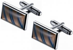 Amber And Blue Diagonal Striped Catseye Cufflinks