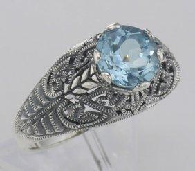 Victorian Style Genuine Blue Topaz Solitaire Filigree R