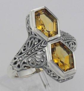 Art Deco Style Genuine 2 Carat Citrine Filigree Ring -