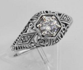 Cz Filigree Ring Art Deco Style W/ 4 Diamonds - Sterlin