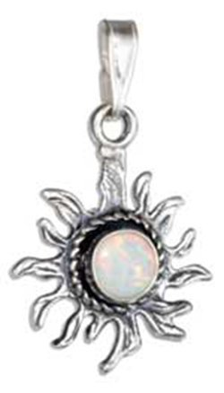 Sterling Silver Antiqued Synthetic White Opal Sun Penda
