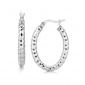Sterling Silver Thick Hoop Diamond Cut Textured Earring