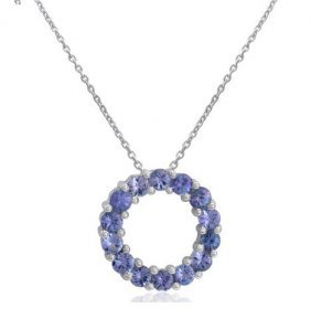 Tanzanite Circle Necklace In Sterling Silver
