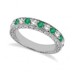 Antique Diamond And Emerald Wedding Ring 14kt White Gol