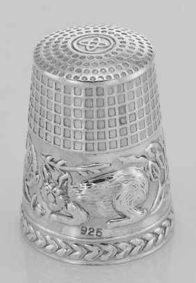 Cute Cat Sewing Thimble In Fine Sterling Silver