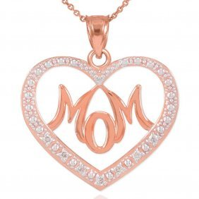 "14k Rose Gold Diamond Studded ""mom"" Heart Pendant Appro"