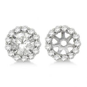 Round Diamond Earring Jackets For 9mm Studs 14k White G