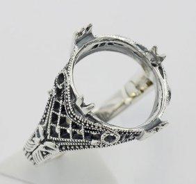 11mm X 14mm Semi Mount Filigree Ring - Sterling Silver
