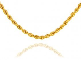 """Rope Solid 10k Gold Chain 4mm 20"""" (21.69 Grams)"""