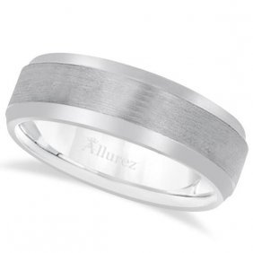 Comfort-fit Carved Wedding Band In Palladium For Men (7
