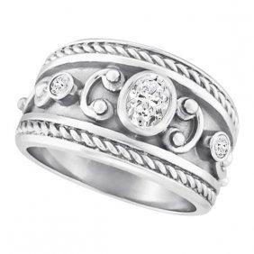 Diamond Byzantine Ring In 18k White Gold By Allurez (0.
