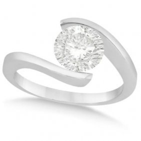 Tension Set Solitaire Diamond Engagement Ring In Pallad