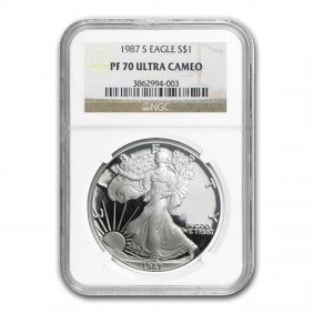 1987-s Proof Silver American Eagle Pf-70 Ngc