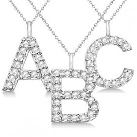 Customized Block-letter Pave Diamond Initial Pendant In