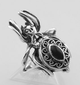 Spider Poison Ring W/ Onyx - Secret Compartment - Sterl