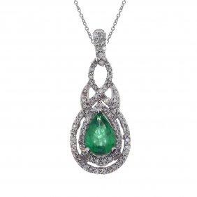 Certified 14k White Gold Pear Emerald Diamond Pendant