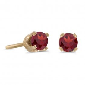 Certified 3 Mm Petite Round Genuine Garnet Stud Earring