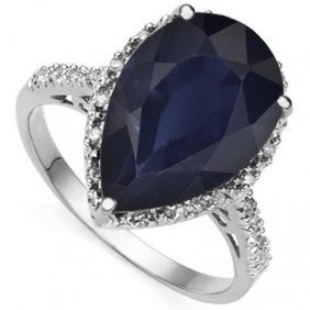 2.6 Ctw Genuine Black Sapphire & Genuine Diamond Platin