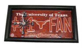 University Of Texas Longhorns License Plate Clock