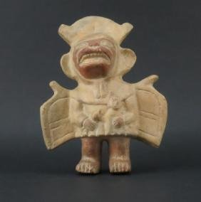 Pre Columbian Or Later Moche Inca Polychrome Standing